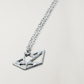 Necklace Unisex Silver Paper Ship
