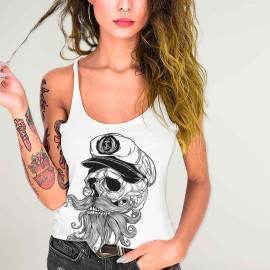 Women Tank Top White Skull Mattketmo