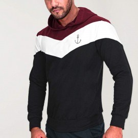 Hoodie Uomo Nero Patch Flash Anchor Simple