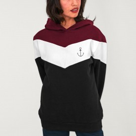 Hoodie Donna Nero Patch Flash Anchor Simple