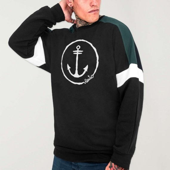 Men Sweatshirt Black Patch Shadows Anchor Logo