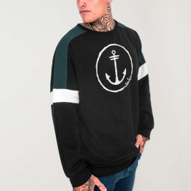 Sweatshirt de Hombre Negra Patch Shadows Anchor Logo