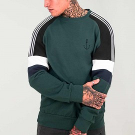 Sweat Homme Vert bouteille Patch Nature Anchor Simple