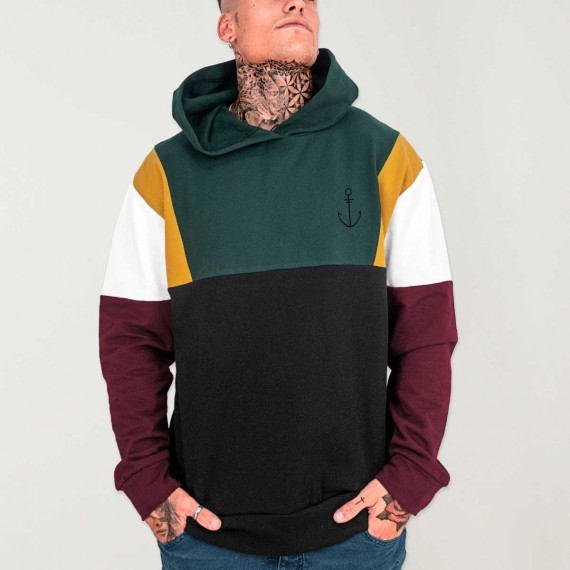 Hoodie Uomo Nero Patch Suburbs Anchor Simple