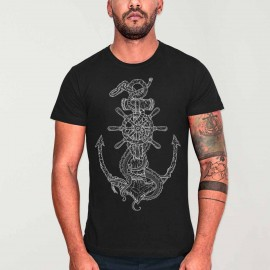 Men T-Shirt Black Rusty Anchor