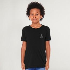 T-shirt Garçon Noir Anchor Simple