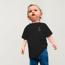 Baby T-shirt Black Anchor Simple