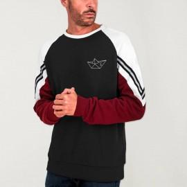 Men Sweatshirt Black Patch Deluxe Anchored paper Ship
