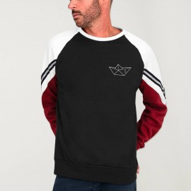 Men Sweatshirt Black Patch Deluxe Anchored paper Ship