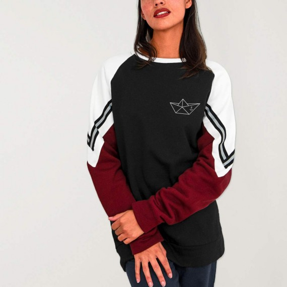 Sweatshirt de Mujer Negra Patch Deluxe Anchored Paper Ship