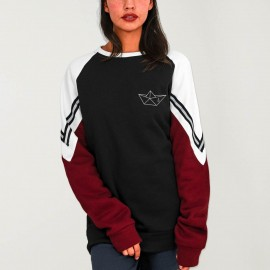Sweatshirt Damen Schwarz Patch Deluxe Anchored Paper Ship