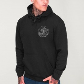 Men Hoodie Black Japan Tide