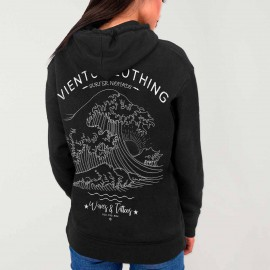 Women Hoodie Black Japan Tide