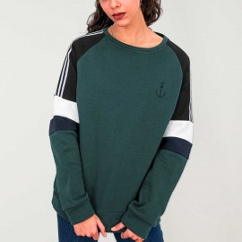 Sweat Femme Vert bouteille Patch Nature Anchor Simple