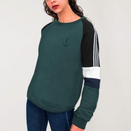 Sweatshirt Damen Flaschengrün Patch Nature Anchor Simple