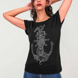 Women T-shirt Black Rusty Anchor