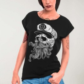 Women T-shirt Black Skull Mattketmo