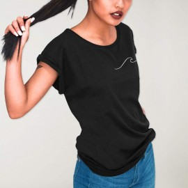 Women T-shirt Black Waves