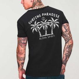Maglietta Uomo scollo rotondo Nera Aloha