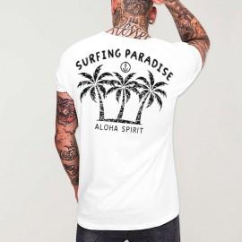 Camiseta de Hombre Cuello Abierto Blanca Aloha