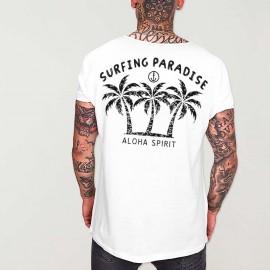 T-shirt Herren mit U-Ausschnitt Weiß Aloha