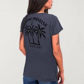 T-shirt à col en V Femme Océan Aloha