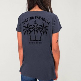 T-shirt mit V-Ausschnitt Damen Ozean Aloha