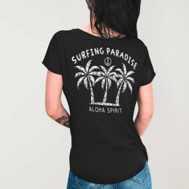 Women T-shirt V-neck Black Aloha