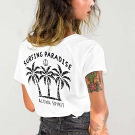 T-shirt à col en V Femme Blanc Aloha