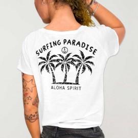 Women T-shirt V-neck White Aloha