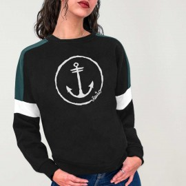 Felpa Donna Nera Patch Shadows Anchor Logo