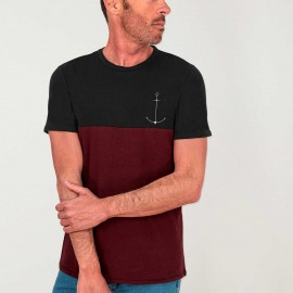 Men Colourblock T-Shirt Black Minimal Anchor
