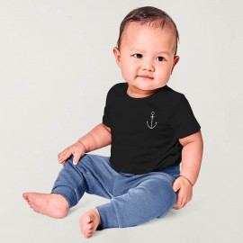 Camiseta de Bebé Negro Anchor Simple
