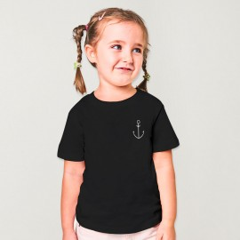 Maglietta Bambine Nera Anchor Simple