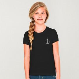 Girl T-shirt Black Anchor Simple