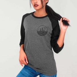 Camiseta con manga 3/4 de Mujer Gris/Negro Baseball Drifter