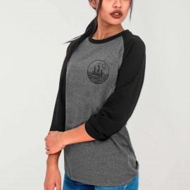 Shirt 3/4 Ärmeln Damen Grau/Schwarz Baseball Drifter