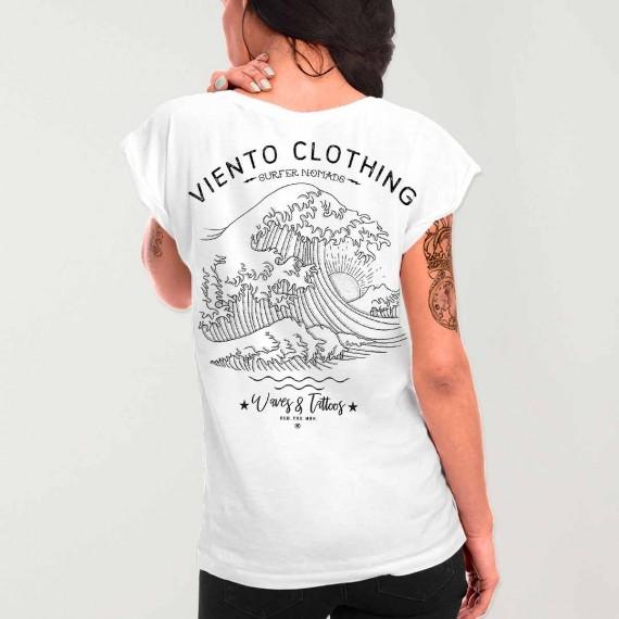 T-shirt Femme Blanc Japan Tide