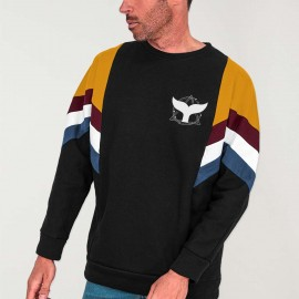 Men Sweatshirt Black Patch Best Tail Whale