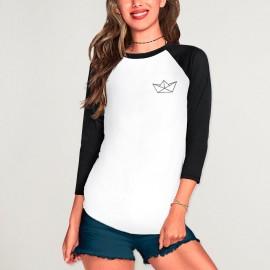 3/4 Sleeve Women T-Shirt White Baseball Paper Ship