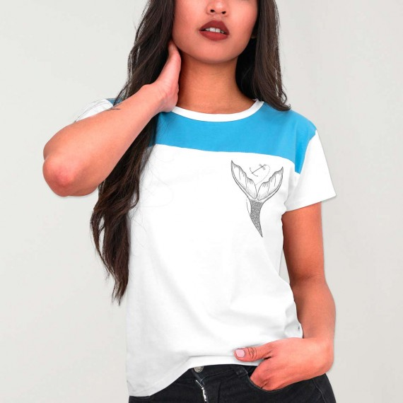 Women T-Shirt Bicolor White Eco Mermaid
