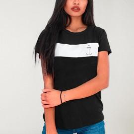 Women T-shirt White / Black Patch Storm Dream Anchor