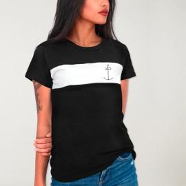 T-shirt Damen Weiß / Schwarz Patch Storm Dream Anchor
