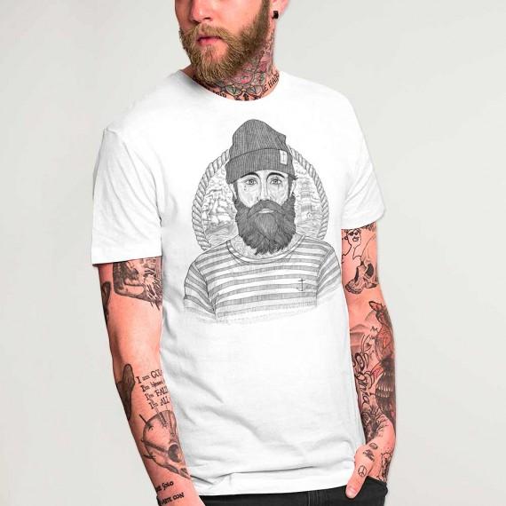 Men T-Shirt White Cool Captain