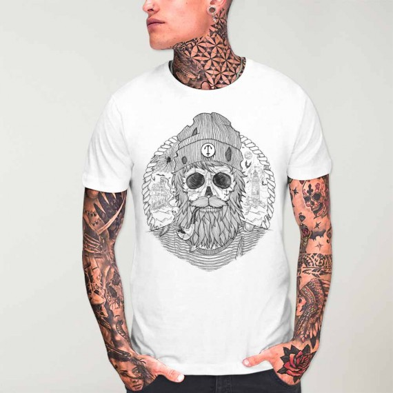 T-shirt Homme Blanc Sailing Ghost