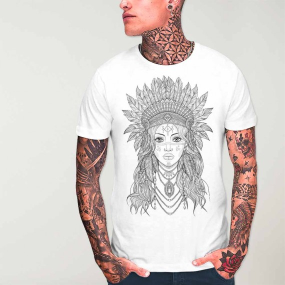 Men T-Shirt White Indian Girl