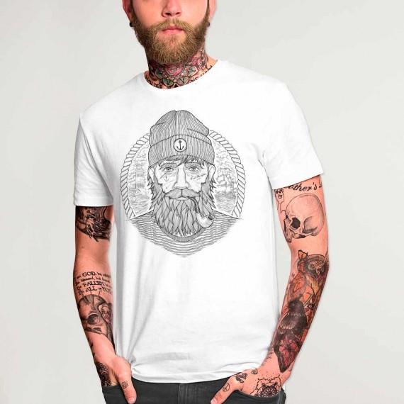 Men T-Shirt White Real Captain Remastered