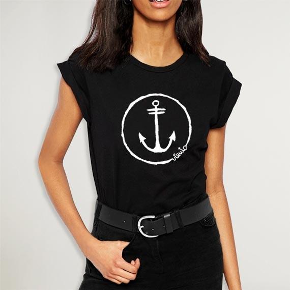 T-shirt Woman Black Anchor Logo OUTLET
