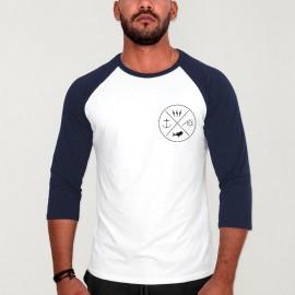Camiseta con manga 3/4 de Hombre Blanca/Azul Marino Baseball Crossed Ideals