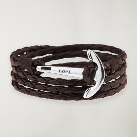 Bracelet Brown Leather Anchor Silver Hope